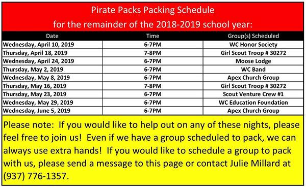 Pirate Packing Schedule 2019